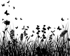 meadow silhouettes - stock illustration