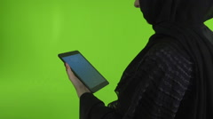 Arab woman using digital tablet. Stock Footage