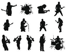 Set of rock and jazz silhouettes Stock Illustration