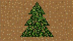 Christmas golden glitter pattern with christmas tree, seamless loop background - stock footage