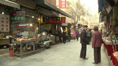 Muslim Quarter street, Xian, China Stock Footage