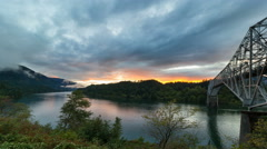 Time Lapse of Clouds and Sunset along Columbia River Gorge in Oregon Stock Footage