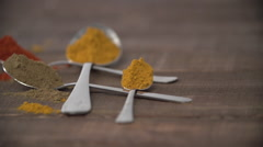 Powdered spices on spoon. Stock Footage