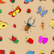 Background of the insects: butterflies, beetles, larvae, seamles - stock illustration