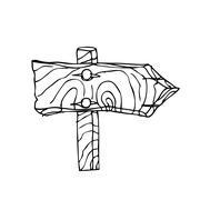 Vector Single Sketch Signpost - stock illustration