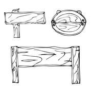 Set of Vector Single Sketch Signpost Stock Illustration