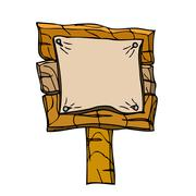 Vector Single Cartoon Wooden Signpos. Isolated on white Stock Illustration