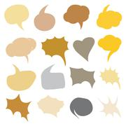 Stock Illustration of Vector Set of Color Flat Comics Bubbles. Talk and Think