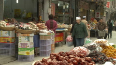 Fruit & vegetable market, Xian, China Stock Footage
