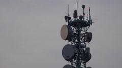 4K Closeup antenna network broadband cable communication electricity pylon day   Stock Footage
