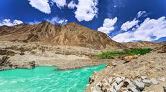 Panoram river Indus - stock photo