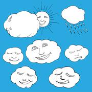 Cute doodle of sky elements: sun, clouds. Vector illustration - stock illustration
