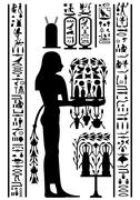 egyptian hieroglyphs and fresco - stock illustration