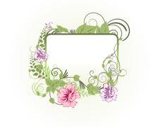floral frame - stock illustration