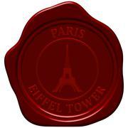Eiffel tower sealing wax Stock Illustration