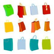 Set of Colorful Empty Shopping Bags Stock Illustration