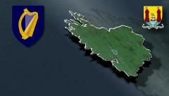 Cork whit Coat of arms animation map - stock footage