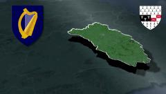 Kilkenny whit Coat of arms animation map - stock footage