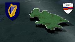 Tipperary whit Coat of arms animation map Stock Footage