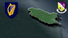Wexford whit Coat of arms animation map Stock Footage