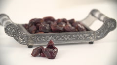 Dates on tray. Stock Footage