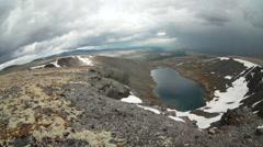 Fish-eye view of Academic lake in valley. Khibiny mountains, Kola peninsula, Rus - stock footage