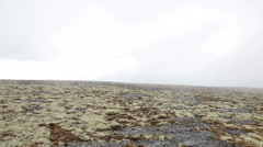 View from the mountain plateau at mist on the pass. Blocked passage Stock Footage