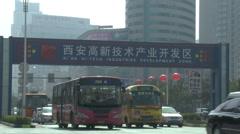 Xian Hi-Tech Zone, busy traffic, China Stock Footage