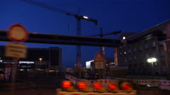 Stock Video Footage of road works by night in Stuttgart editorial