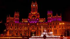 Cybele square in Madrid Stock Footage