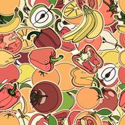 Stock Illustration of Seamless pattern with set of fruits and vegetation. Seamless tex