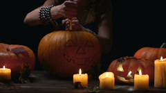 Carving Halloween Symbol Stock Footage