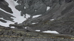 North Rischorr mountain pass with snow covered passage, Khibiny massif Stock Footage