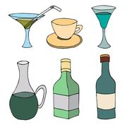 Set of Crockery, glass bottle and cup Stock Illustration