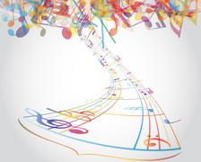Multicolour  musical notes - stock illustration