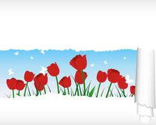 Stock Illustration of meadow silhouettes with ripped stripe