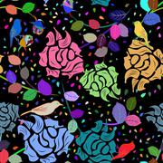 Seamless multicolor floral pattern - stock illustration
