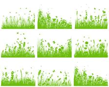 meadow silhouette set - stock illustration