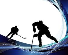 Stock Illustration of Hockey player silhouette
