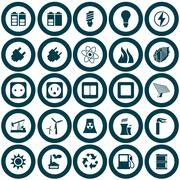 Power and energy icon set Stock Illustration