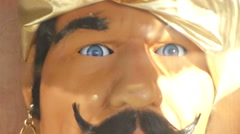 Close up of 'Zoltar', a vintage fortune telling robot gypsy which has occupie Stock Footage