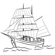 Stock Illustration of Sketch of nautical sailing vessel
