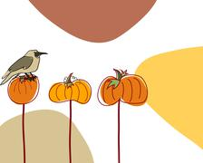 Stock Illustration of Autumn greeting doodle card