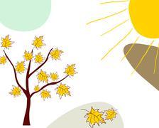 Autumn greeting doodle card - stock illustration