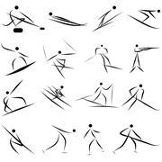 Winter sport icon set - stock illustration
