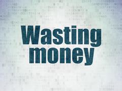 Money concept: Wasting Money on Digital Paper background - stock illustration
