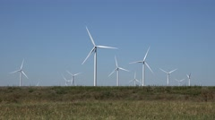 4K Timelapse wind turbine lines rotate green energy windmill fuel production day Stock Footage