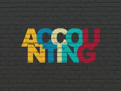 Banking concept: Accounting on wall background - stock illustration