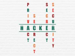 Protection concept: word Hacker in solving Crossword Puzzle Stock Illustration
