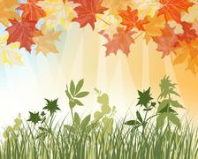 Meadow autumn background Stock Illustration